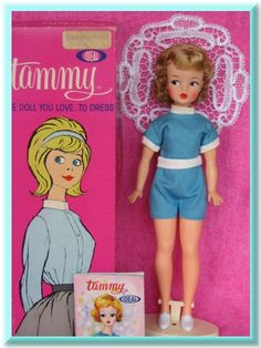 Tammy, by Ideal, 1962-1966. Introduced to rival Mattel's Barbie.  (What my mom chose to give me instead of Barbie for Christmas).