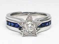 Diamond Star Blue Bridge Engagement Ring in White Gold Round Diamond Ring, Round Diamonds, Diamond Cuts, Diamond Stone, Dallas Cowboys Rings, Cowboys Football, Star Ring, Blue Sapphire Rings, White Sapphire