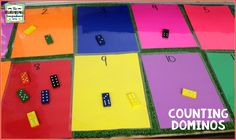 The Kindergarten Smorgasboard: Domino Counting! Numbers Preschool, Math Numbers, Preschool Math, Teaching Math, Kindergarten Smorgasboard, Kindergarten Activities, Math Stations, Math Centers, Numeracy Activities