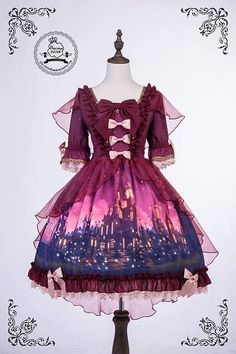 Fantasy castle red lolita dress