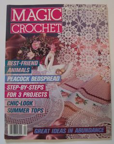 Crochet Pattern Magazine/Vintage Magic Crochet April 1990 No.65/ Summer Tops/Bedspread/ Doilies/ Pillow/ by RedWickerBasket on Etsy