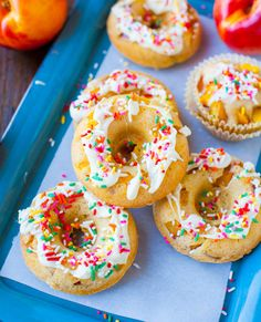 Baked Peach and Nectarine Donuts with White Chocolate Drizzle and Sprinkles