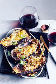 Halloumi pesto roasted aubergines