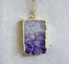 Amethyst Slice Druzy Necklace
