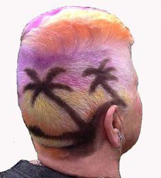 Desert Island Sunrise Hair Art, Created by Colin Watkins at STUDIO 2000, Shepperton, London