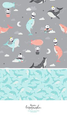 Dream on - pattern design mini-collection with dreaming pandas and whales in the sky. Unisex children textile design.