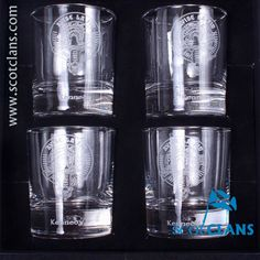 boxes set of 4 whisky glasses with Kennedy clan crest - from ScotClans