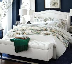 Tamsen Curved Upholstered Bed & Headboard | Pottery Barn