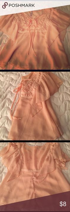 """Light pastel colored """"flowey"""" blouse Very comfortable blouse, a pastel color of pink, super cute embroidery in the front of it. street flower Tops Blouses"""