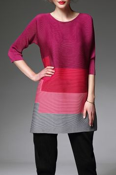 Agd Red Ruched Color Block Blouse | Blouses at DEZZAL