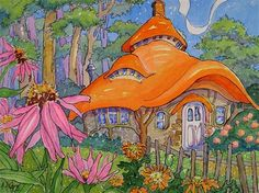 """Daily Paintworks - """"A Little Welsh Cottage Storybook Cottage Series"""" - Original Fine Art for Sale - © Alida Akers"""