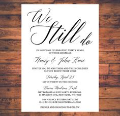 Vow Renewal Invitation We Still Do Simple by BrightPaper on Etsy