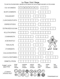 La Ropa Word Merge FREE printable Spanish puzzle worksheet and answer key from PrintableSpanish.com