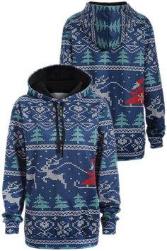 Plus Size Christmas Drawstring Kangaroo Pocket Hoodie