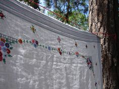 Vintage White Linen Tablecloth Embroidered by NopalitoVintageMore, $60.00