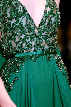 Elie Saab, model, runway, haute couture, couture, fashion, high fashion, Paris Fashion Week, fashion week, ball gown, emerald, sequins, crystals, gemstones, beading, sparkles, jewels, details, embroidery, Fall 2013, princess, fairy tale,