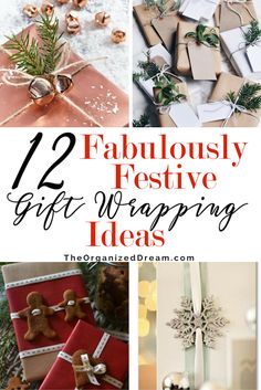 12 Gorgeous Ways to Wrap Gifts, 12 Gorgeous Ways to Wrap Gifts, Copper paper, Red berries, Gingerbread Man, Ornaments, Snowflakes, Crayons,  via @madeinaday