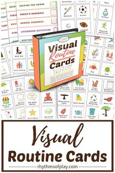 Printable visual routine cards are a powerful tool for parents and educators--they help children gain independence and know what they need to do each day. This makes them especially useful for toddlers, preschoolers, kindergarteners, autistic children, and children with special needs. Get this printable set of visual activity cards with over 150 cards and labels today! | Rhythms of Play Anxiety In Children, Autistic Children, Creative Activities, Activities For Kids, Montessori Practical Life, Montessori Education, Teaching Tips, Printable Cards, Gain