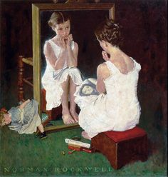 Súper PT: Emocionario-9: La timidez Imagen de Norman Rockwell: Girl at Mirror.