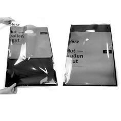Idea for plastic - translucent Susanne Dunkel Packaging Box, Shirt Packaging, Packaging Design, Plastic Bag Packaging, Penny Lane, Tod Bag, Paper Bag Design, Graphic Design Typography, Identity Design