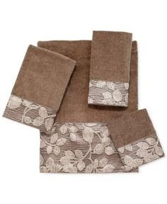 Avanti Branches Fingertip Towel - Tan/Beige