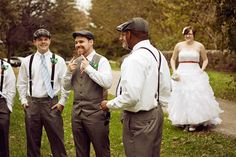 Love the men's outfits! Suspenders for groomsmen, vest for groom.