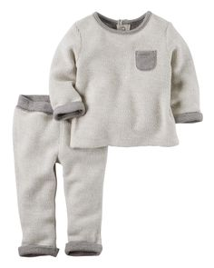 Super cozy, this French terry set is perfect for playtime, naptime or anytime! Complete with easy-on pants and snap-button shoulders for quick changes and easy dressing.