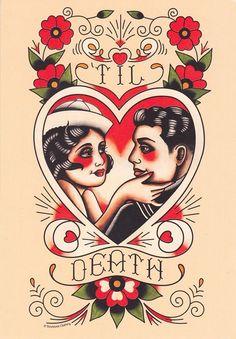 Vintage Sailor & Lover,'Til Death, Tattoo Flash Print Tattoo Tod, Et Tattoo, Tattoo Thigh, Tiny Tattoo, Kunst Tattoos, Paar Tattoos, Tattoo Marin, Old School Tattoo Vorlagen, Tatuagem Pin Up