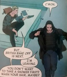 Hawkeye's obsession with Winter Soldier's greasy hair is one of my favourite things. Tales of Suspense #102 Rosenberg, Foreman, Rosenberg. (This series is amazing)