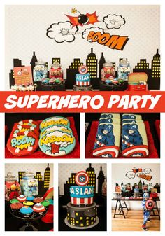The ultimate superhero birthday party! The details are truly amazing! - Pretty My Party #superhero #birthday #party #partyplanning #boys #partytheme #partyideas