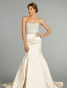 Bridal Gowns: Jim Hjelm Mermaid Wedding Dress with Strapless Neckline and Natural Waist Waistline