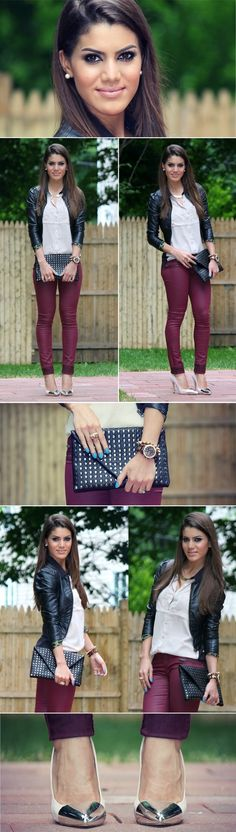 burgundy pants, i can wear with white shirt, black jacket, and black boots or white shirt with camel jacket and camel boots
