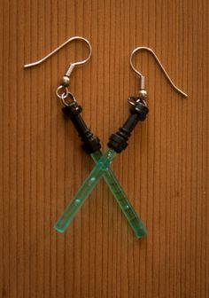 Lightsaber Lego earrings by GumbootDesigns on Etsy, $7.00