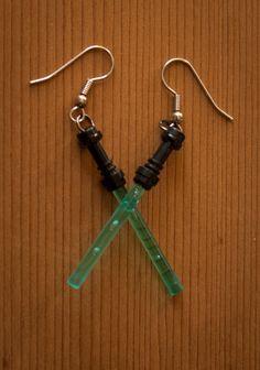 Lightsaber Lego earrings by GumbootDesigns on Etsy, $7.00