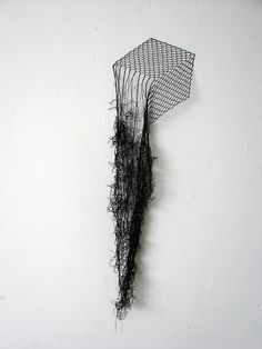 Elodie Antoine, Cube, Black lace thread and pins, 2012 Textiles, Textile Fiber Art, Textile Sculpture, Thread Art, Land Art, Wire Art, Art Plastique, Embroidery Art, Installation Art