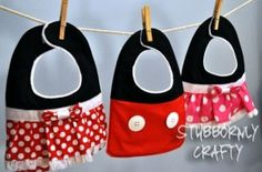 DIY Minnie (and Mickey) Mouse bibs...just use the picture, not the link.