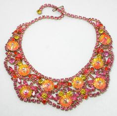 Vintage Juliana (D) Pink Margarita Rivoli Rhinestone Bib Necklace Vintage Costume Jewelry, Vintage Costumes, Vintage Jewelry, Beaded Jewellery, Antique Jewellery, Jewelry Box, Jewelery, Inexpensive Jewelry, Bib Necklaces