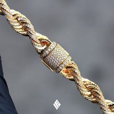 Best Diamond Bracelets : Solid 14K Yellow Gold 10mm Rope Chain Fully Iced Out With White Diamonds. Custom
