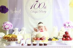Example of a baekil table Mama Photo, 100 Day Celebration, 100th Day, Zinnias, First Birthdays, Birthday Cake, Place Card Holders, Table Decorations, Party