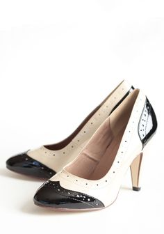 """March Heels By Chelsea Crew 64.99 at shopruche.com. This luxurious pair of patent leatherette spectators by Chelsea Crew is designed in black and beige.All man-made materials, Leather lining, Slightly padded footbed, 4"""" heel"""