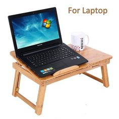 Portable Laptop Desk Bamboo Table Folding Lap Bed Serving Tray