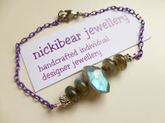 LABRADORITE BRACELET with two tone Purple Chain, Stainless Steel clasp, electroplated haematite and Tierracast pewter bead details. Gemstone by NickibearJewellery on Etsy