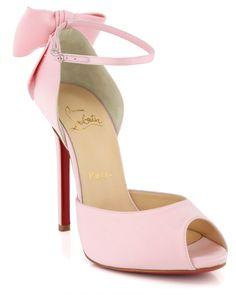 Pink Christian Louboutin Dos Noeud Peep-Toe Heels