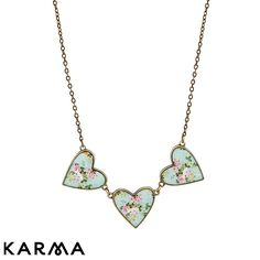 Karma Vintage Floral Hearts Necklace