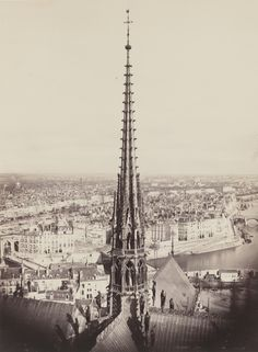 Charles Marville - View of a spire of Notre Dame facing Ile St. Louis