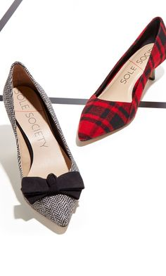 Houndtooth and tartan kitten heels...EEP!!! So in LOVE for fall!!