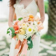 Tangerine and blush bouquet by Myrtle Blue Floral Design.