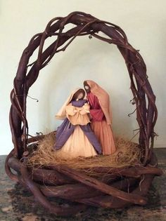 My Aunts nativity made out of corn husks...just beautiful!! Tgh