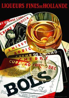 Vintage poster for Bols Dutch liqueur Vintage Advertising Posters, Vintage Advertisements, Vintage Posters, Print Advertising, Retro Poster, Poster Ads, Poster Prints, Vintage Labels, Vintage Ads