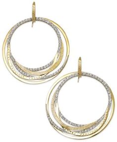 "SIS by Simone I Smith ""Forever Shaunie"" 18k Gold over Sterling Silver Earrings, Crystal Eternity Hoop Earrings (1.3-1.8mm) 